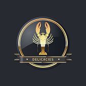 golden noble glossy delicacies or seafood vector lobster icon