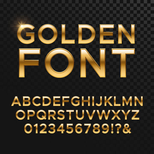 Golden glossy vector font or gold alphabet. Yellow metal typeface vector art illustration