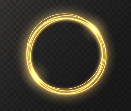 Golden glowing circle isolated on transparent background. Yellow magic ring light effect.