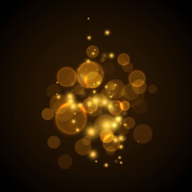 Golden glowing lights effects vector art illustration