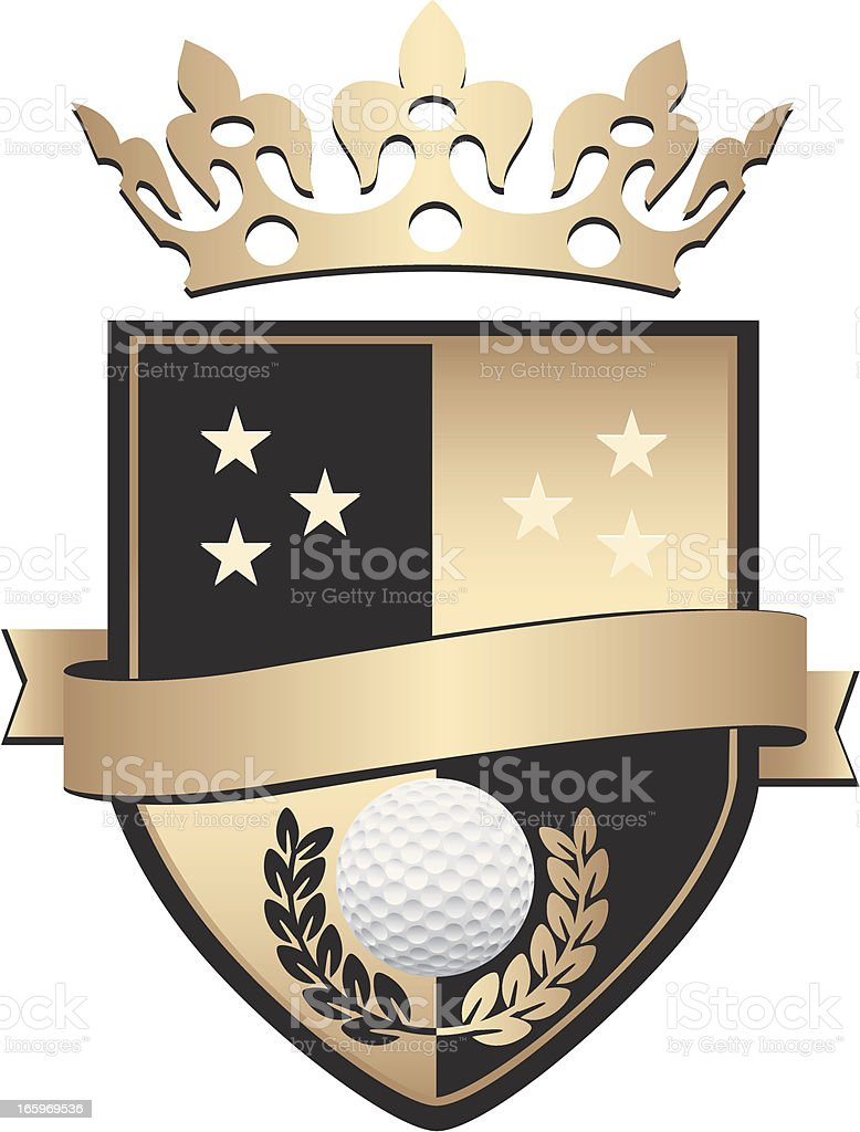 Golden Golf Shield With Crown royalty-free golden golf shield with crown stock vector art & more images of authority