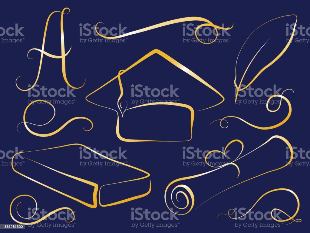 Golden Graduation Cap And Education Element Graduation Day Vector