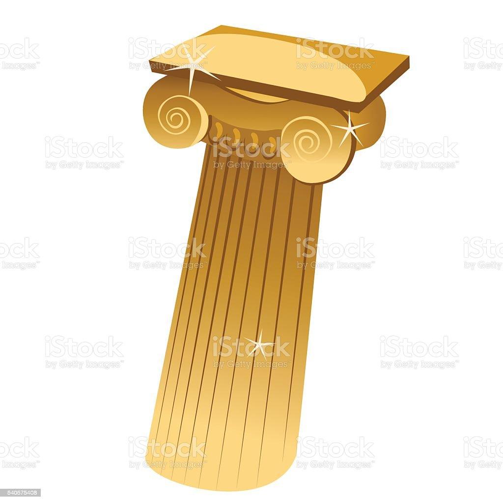 Golden Greek single column in cartoon style vector art illustration