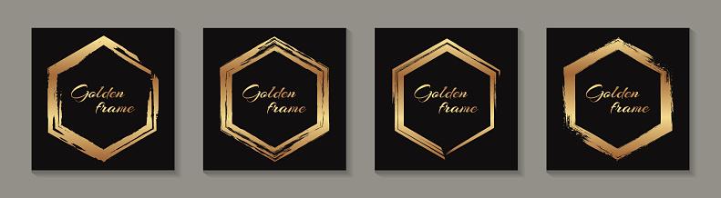 Golden grunge hexagon frames.
