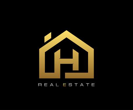 Golden H House Logo Design, Real Estate Icon.