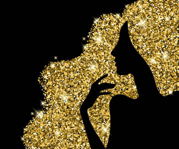 bildbanksillustrationer, clip art samt tecknat material och ikoner med golden hair beautiful girl silhouette vector illustration. - kvinna ansikte glow