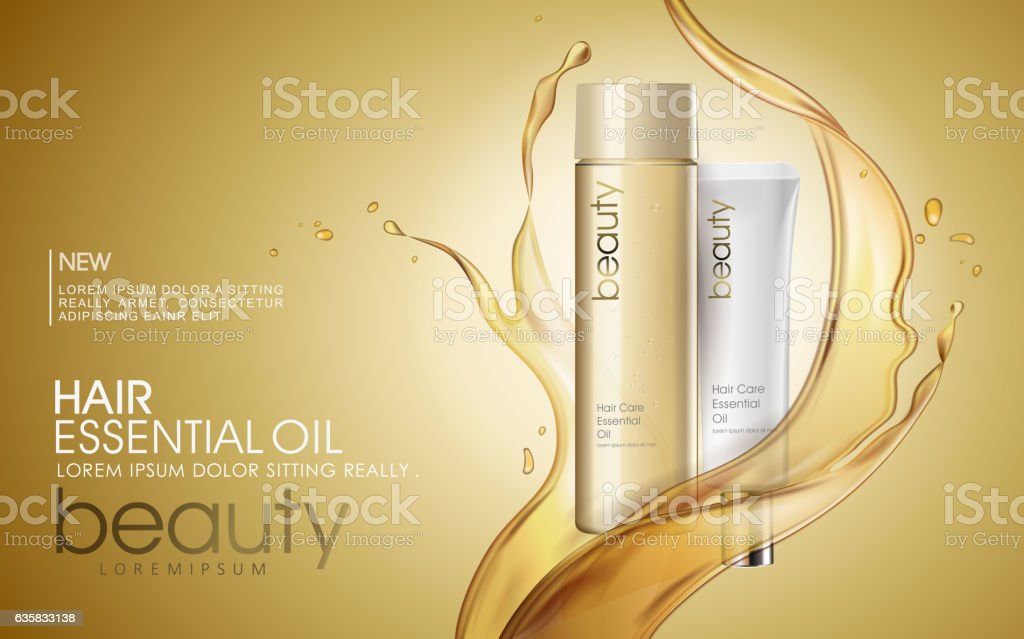 Golden hair oil ads vector art illustration