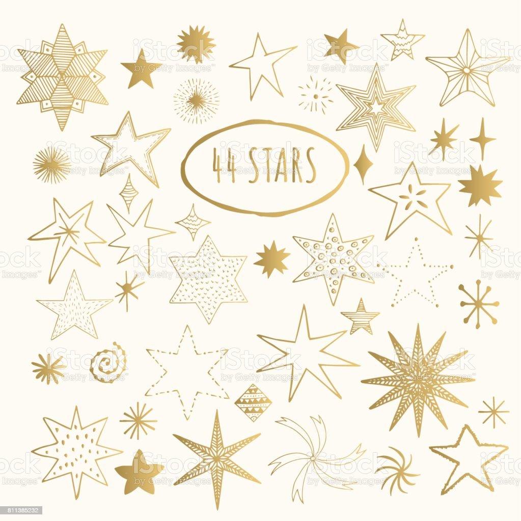 Stars der goldenen Hand gezeichnet. Vektor. – Vektorgrafik