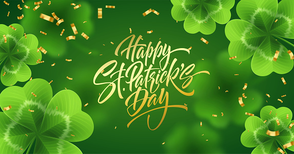 Golden handwriting lettering Happy Saint Patricks Day on green background made of realistic clover leaves and golden glitter glitter. Vector illustration