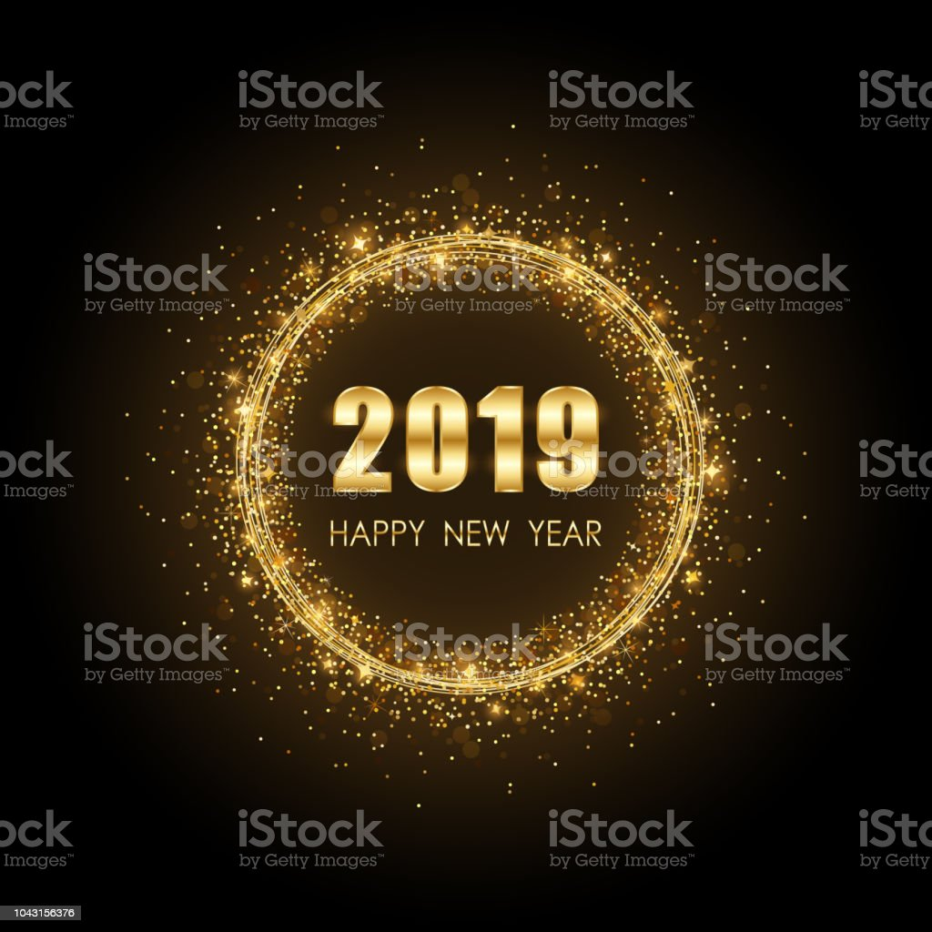 Golden happy new year 2019 in circle ring fireworks with - New year 2019 color ...