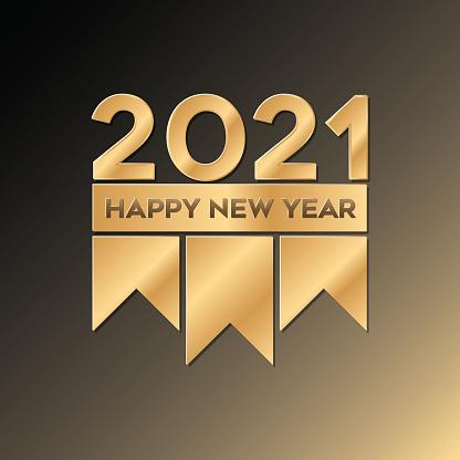 Golden happy new year 2021 luxury design vector illustration.