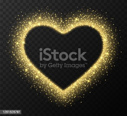 Golden heart frame with sparkles and flares, abstract luminous particles, yellow stardust light effect isolated on a dark background. Xmas glares and sparks. Luxury backdrop. Vector illustration.