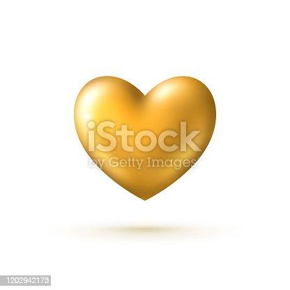 istock Golden heart isolated on white 1202942173