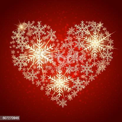 Golden heart made with snow. Vector