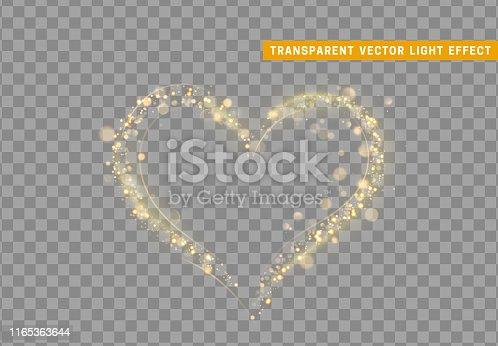 istock Golden heart of glitter light effect. 1165363644