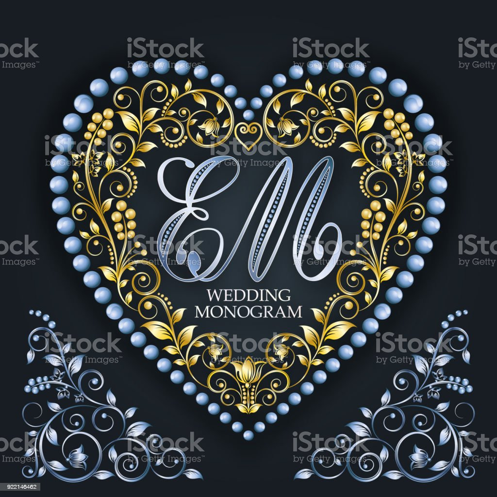 wedding monogram letter em valentines day vector royalty