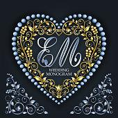 golden heart wedding monogram letter em valentines day
