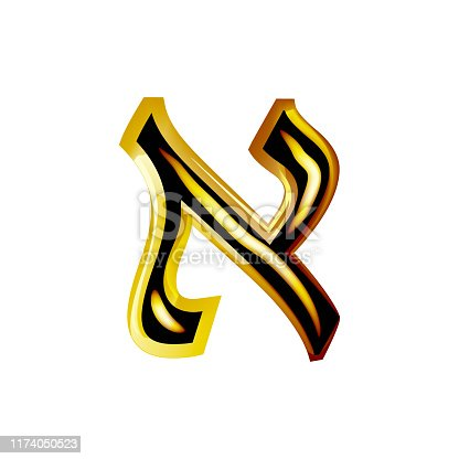 istock Golden Hebrew Alphabet. Brilliant Hebrew font. Letter gold Aleph. Vector illustration on isolated background.. 1174050523