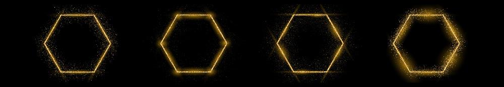 Golden hexagon frame with glitter