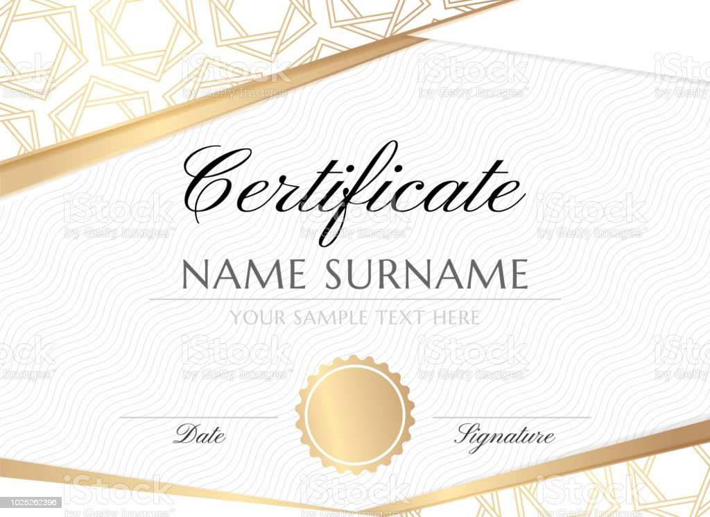 Golden Hexagon Stars Certificate Design Template Stock Vector Art