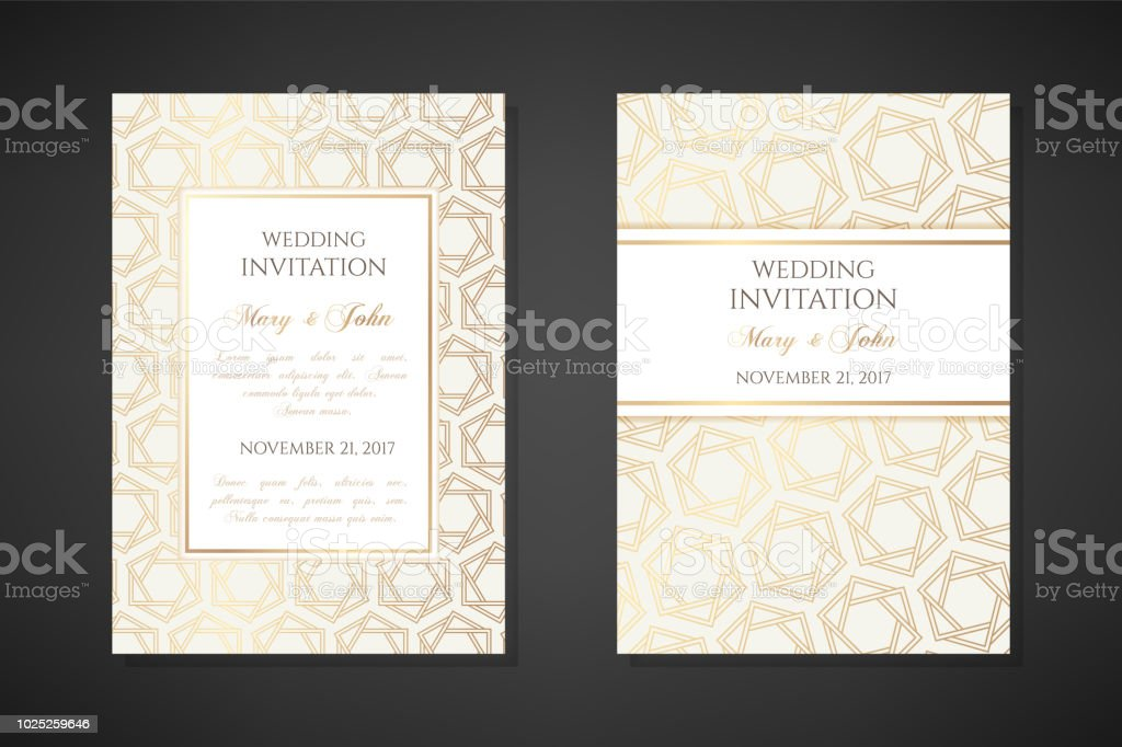Golden Hexagon Stars Wedding Invitation Templates Stock