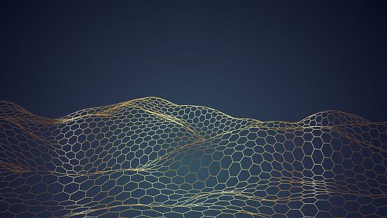 Golden hexagonal honeycomb abstract background