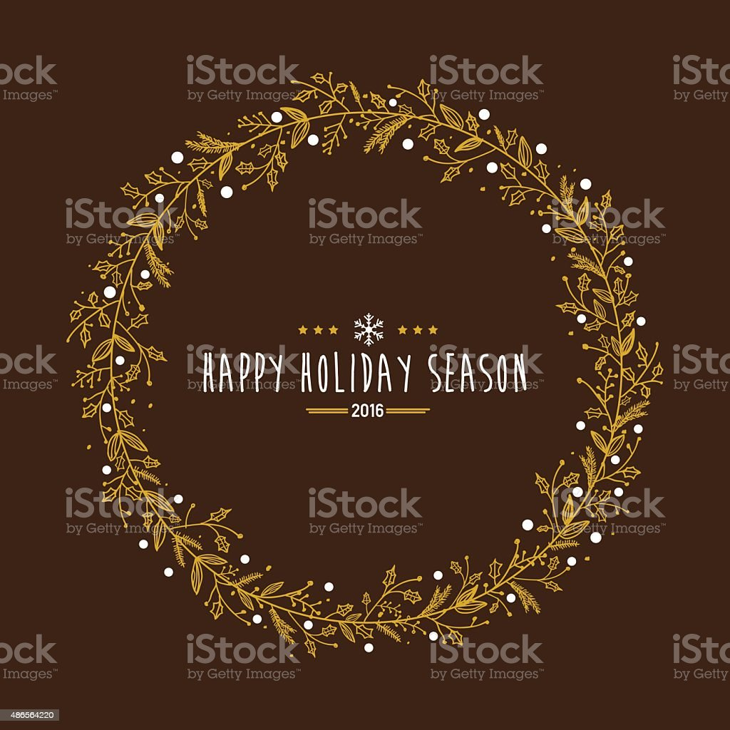 Golden holiday wreath with holiday wishes vector art illustration