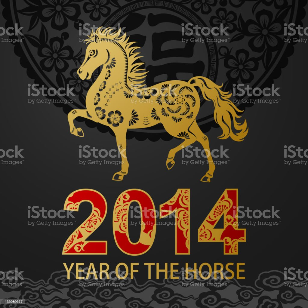 Golden Horse Art In Chinese Papercut Art Floral Background Stock Illustration Download Image Now Istock
