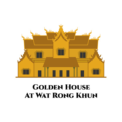 Golden House at Wat Rong Khun in Chiang Rai province, Thailand. Great place to visit and take photos. Country Thailand travel vacation guide of goods, places and features