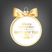 Golden hristmas ball on transparent black background with holiday text. Happy New Year 2016 card over black background. Vector illustration.
