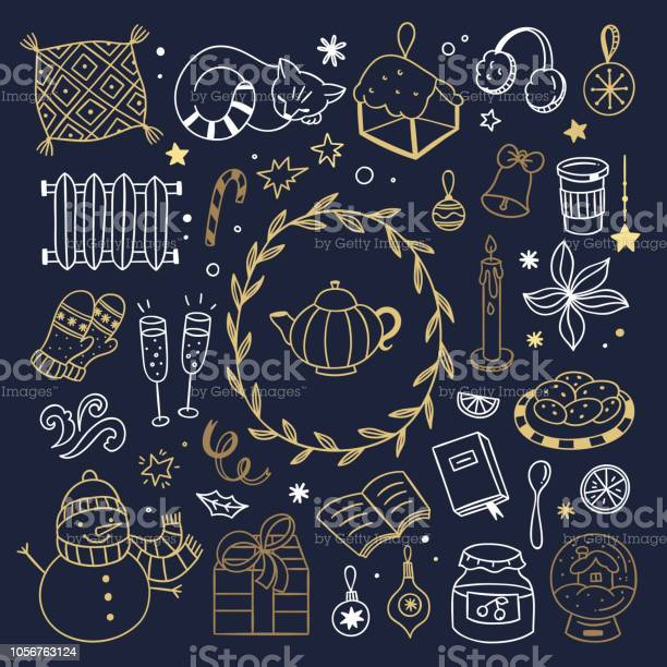 Golden hygge winter elements and doodle illustrations cute christmas vector id1056763124?b=1&k=6&m=1056763124&s=612x612&h=gopfkac55iz07uil9fnfjv q1cfw5xsrp5zi4e84w m=