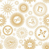 Vector Illustration of a Golden Icons an Sunburst Seamless BackgroundPattern