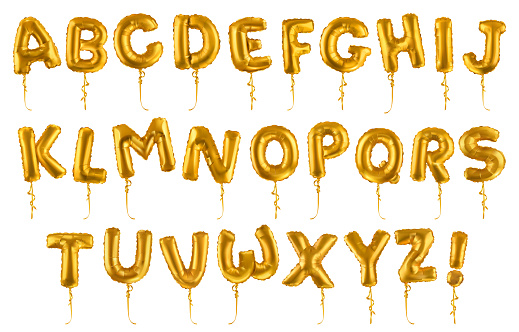 Golden inflatable toy balloons font. 3d vector realistic set. Letters from A to Z