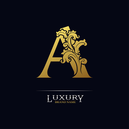 Golden initial letter A with floral leaves. Luxury Natural Logo Icon. Elegant botanic design. Modern alphabet with branch ornament for monogram, emblem, initial, label, brand, business, greeting card