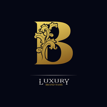 Golden initial letter B with floral leaves. Luxury Natural Logo Icon. Elegant botanic design. Modern alphabet with branch ornament for monogram, emblem, initial, label, brand, business, greeting card