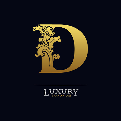 Golden initial letter D with floral leaves. Luxury Natural Logo Icon. Elegant botanic design. Modern alphabet with branch ornament for monogram, emblem, initial, label, brand, business, greeting card
