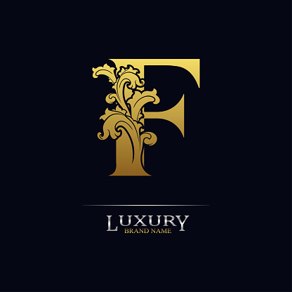 Golden initial letter F with floral leaves. Luxury Natural Logo Icon. Elegant botanic design. Modern alphabet with branch ornament for monogram, emblem, initial, label, brand, business, greeting card