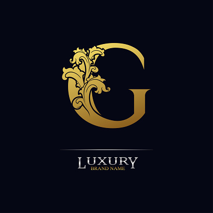 Golden initial letter G with floral leaves. Luxury Natural Logo Icon. Elegant botanic design. Modern alphabet with branch ornament for monogram, emblem, initial, label, brand, business, greeting card