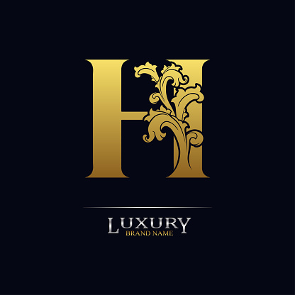 Golden initial letter H with floral leaves. Luxury Natural Logo Icon. Elegant botanic design. Modern alphabet with branch ornament for monogram, emblem, initial, label, brand, business, greeting card