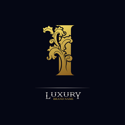Golden initial letter I with floral leaves. Luxury Natural Logo Icon. Elegant botanic design. Modern alphabet with branch ornament for monogram, emblem, initial, label, brand, business, greeting card