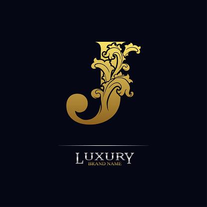 Golden initial letter J with floral leaves. Luxury Natural Logo Icon. Elegant botanic design. Modern alphabet with branch ornament for monogram, emblem, initial, label, brand, business, greeting card
