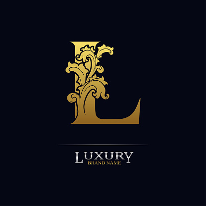 Golden initial letter L with floral leaves. Luxury Natural Logo Icon. Elegant botanic design. Modern alphabet with branch ornament for monogram, emblem, initial, label, brand, business, greeting card
