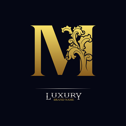 Golden initial letter M with floral leaves. Luxury Natural Logo Icon. Elegant botanic design. Modern alphabet with branch ornament for monogram, emblem, initial, label, brand, business, greeting card