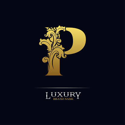 Golden initial letter P with floral leaves. Luxury Natural Logo Icon. Elegant botanic design. Modern alphabet with branch ornament for monogram, emblem, initial, label, brand, business, greeting card