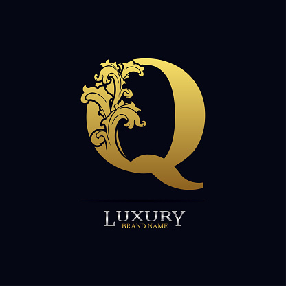 Golden initial letter Q with floral leaves. Luxury Natural Logo Icon. Elegant botanic design. Modern alphabet with branch ornament for monogram, emblem, initial, label, brand, business, greeting card