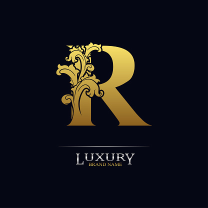 Golden initial letter R with floral leaves. Luxury Natural Logo Icon. Elegant botanic design. Modern alphabet with branch ornament for monogram, emblem, initial, label, brand, business, greeting card