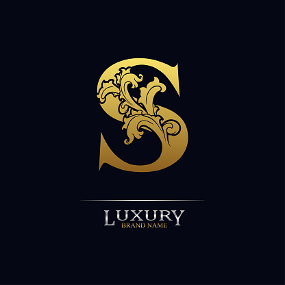 Golden initial letter S with floral leaves. Luxury Natural Logo Icon. Elegant botanic design. Modern alphabet with branch ornament for monogram, emblem, initial, label, brand, business, greeting card
