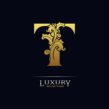 Golden initial letter T with floral leaves. Luxury Natural Logo Icon. Elegant botanic design. Modern alphabet with branch ornament for monogram, emblem, initial, label, brand, business, greeting card