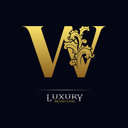 Golden initial letter W with floral leaves. Luxury Natural Logo Icon. Elegant botanic design. Modern alphabet with branch ornament for monogram, emblem, initial, label, brand, business, greeting card