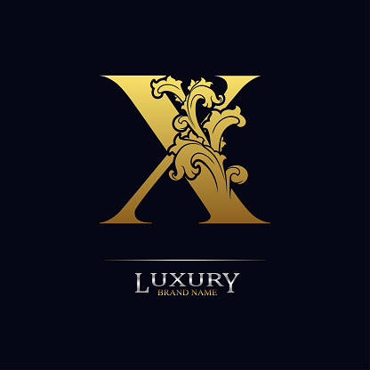 Golden initial letter X with floral leaves. Luxury Natural Logo Icon. Elegant botanic design. Modern alphabet with branch ornament for monogram, emblem, initial, label, brand, business, greeting card